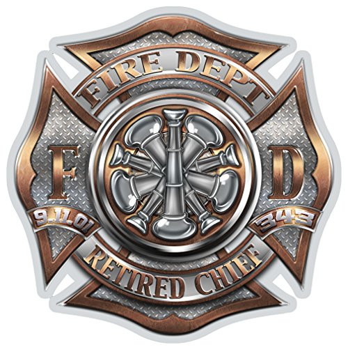 Firefighter Decals, Show Your Pride with Our Retired Chief Patriotic Decals, Perfect for Your Kitchen, Car, Wall or Bike, Gifts for Firefighters (4IN)