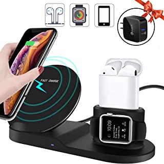 Miuly Qi ワイヤレス充電器 iPhone/Apple Watch/Airpods 3 in 1 同時 アップルウォッチ 5/4/3/2/1 充電器 急速 7.5W 10W 充電スタンド Quick Charge 3.0充電アダプター付属 最新改良版 Apple Watch/iPhone/Airpodsの全シリーズに対応できます iPhone 11 / 11 Pro / 11 Pro Max/XS/XS Max/XR/X / 8 / 8 Plus、Galaxy S10 / S10+ / S9 / S9+/Note 10 などにも対応