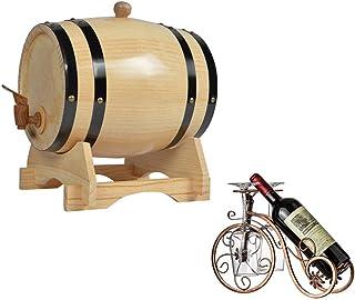 HWhome Tonneau à Vin Tonneau en Bois Décoré 3L Fût de chêne Fûts de chêne de Cuisson intérieurs Convient à la vinification...