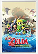 Pyramid America The Legend of Zelda Wind Waker Nintendo Action Adventure Video Game Series Gamecube White Wood Framed Poster 14x20
