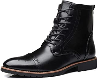 Xiang Ye Classic Carving Brogue Boots for Men Riding Boot High Top Lace up PU Leather Wingtip Burnished Style Stitch Wear-Resisting (Color : Black, Size : 7.5 UK)