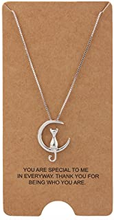 """Jewelry S925 Sterling Silver Cat On Moon Pendant Necklace 18"""""""