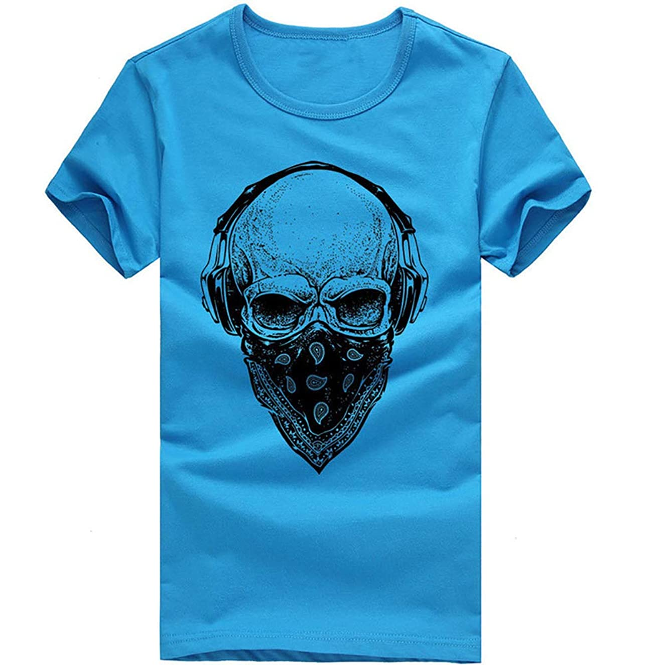 Men Fashion Short Sleeve Skull Printing Summer Casual Soft Cotton T Shirt Tees Tops