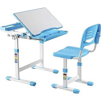 Kinderschreibtisch mit Stuhl Schreibtisch Neig /& Höhenverstellbar w// LED Lampe
