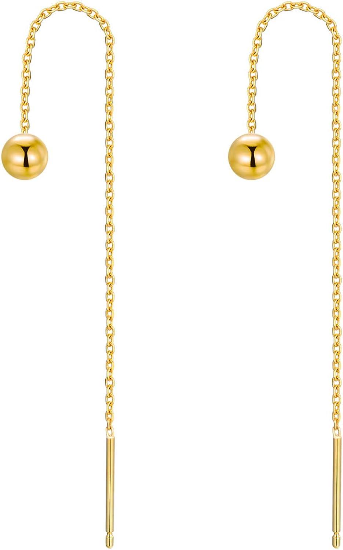 14K Real Gold Threader Drop Earrings for Women, Yellow Gold Pearl/Opal/Ball Dangle Drop Earrings Love Jewelry for Girls