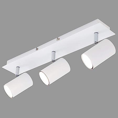 Briloner Leuchten Plafonnier blanc avec 3 spots orientables – Ampoules GU10, 40w maximum