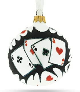 BestPysanky Playing Cards Deck Glass Christmas Ornament