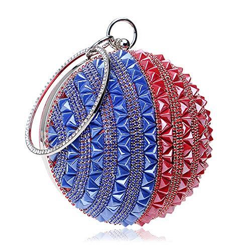 Goodvk Evening Clutch-Bag für Frauen Bankett der Mode-kugelförmiges Bankett-Handtaschen-Damen, Reise-Speicher, Make-upspeicher, Parteien (Farbe : Red and Blue Stripes)