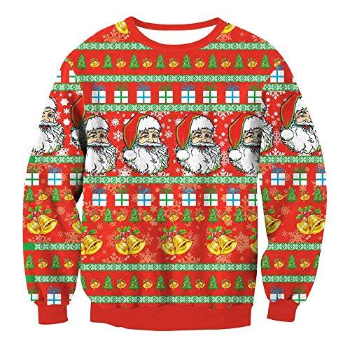 Preisvergleich Produktbild Mens Womens Novelty 3D Printed Cartoon Christmas Santa Claus Sweater - Xmas Sweatshirt Crew Neck Sweatshirt Swyl003 S