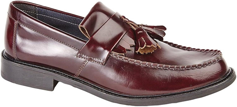 Mens New Hi-Shine Leather Upper Leather Lining & Sock Toggle Detail Saddle Loafer shoes