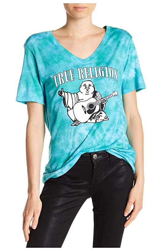 True Religion Women's Classic Buddha Relaxed Rounded V-Neck Tee Shirt in Tropical Teal Tie Dye