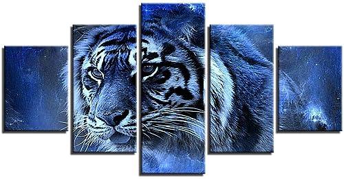 ventas al por mayor Giow Cuadros Abstractos para la la la Sala de Estar Arte de la Parojo Imágenes modulares 5 Unidades Animal Tiger Posters HD Prints Modern Home Decor Framework  auténtico