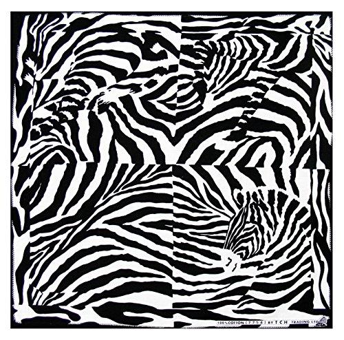 Tuch Zebra Gestreift Schwarz Weiß Kopftuch Bandana Halstuch Biker Sport Nickituch Kopfbedeckung ca. 51 x 51 cm Einseitig Bedruckt