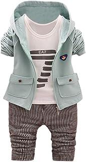 bc976c6c701b10 Kinlene Infante Appena Nato del Ragazzo della neonata Lettera con Cappuccio  Top Pantaloni Coat Copre Gli