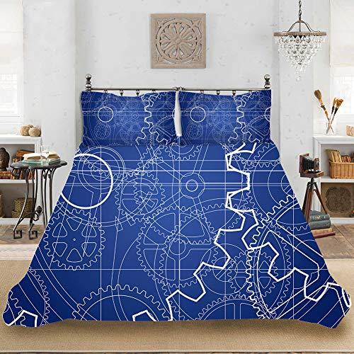 XIAOMA Ropa de cama de 3 piezas, juego de ropa de cama, 3D, vintage, funda nórdica de 100% microfibra, suave, cómoda, duradera, transpirable, fácil de limpiar (A3,200 x 200 cm)