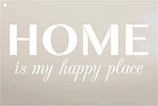 Home is My Happy Place Stencil by StudioR12   Reusable Mylar Template   Use to Paint Wood Signs - Front Porch - Pallets - New Home - DIY Home Welcome Decor - Select Size (12