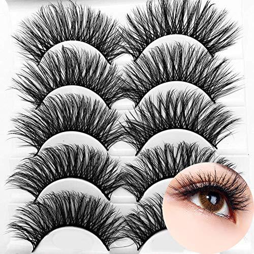 Icycheer - Pestañas postizas 3D mixtas de pelo artificial, tiras completas, gruesas y largas, 5 pares