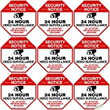 Video Surveillance Sticker, (9 Pack) 3x3 Inches, 4 Mil Vinyl Decal Stickers UV Protected, Long Lasting, Fade Resistant, Indoor/Outdoor Use, Made in USA by Sigo Signs