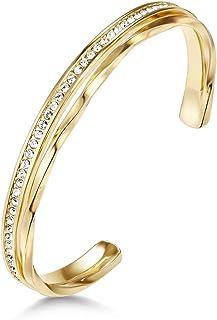 Mestige Golden Audrina Bangle with Swarovski® Crystals (Gold), Gifts Women Girls, Formal, Bangle