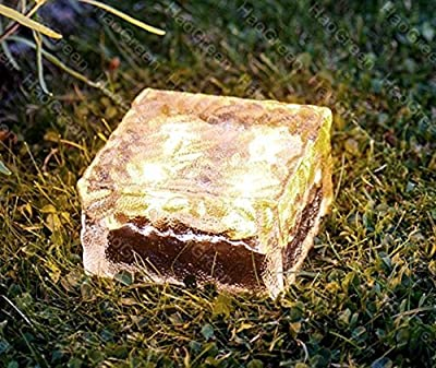 "Kendal Sloar Brick Lights Frosted Glass Garden Landscape Path Light Set of 4,Warm White 3.94""X 3.94"""