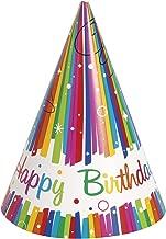 Unique Party Supplies Geburtstags-Partyhüte in Regenbogenfarben, 8 Stück
