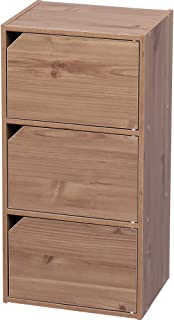 アイリスオーヤマ カラーボックス 収納ボックス 本棚 扉付き 3段 幅36.6×奥行29×高さ73.2cm ナチュラル モジュールボックス MDB-3D