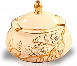 ZRL77y-Portable Ashtrays Ashtray Plum Blossom Pattern with Cover Creative Personality Ceramic Ashtray Living Room with Smo...