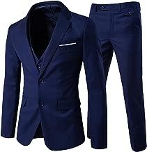 Cloudstyle Men's 3-Piece 2 Buttons Slim Fit Solid Color Jacket Smart Wedding Formal Suit