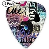 Retro Blues Music Género Old Record Guitarras eléctricas Kiss Inscripciones Grunge (paquete de 12)