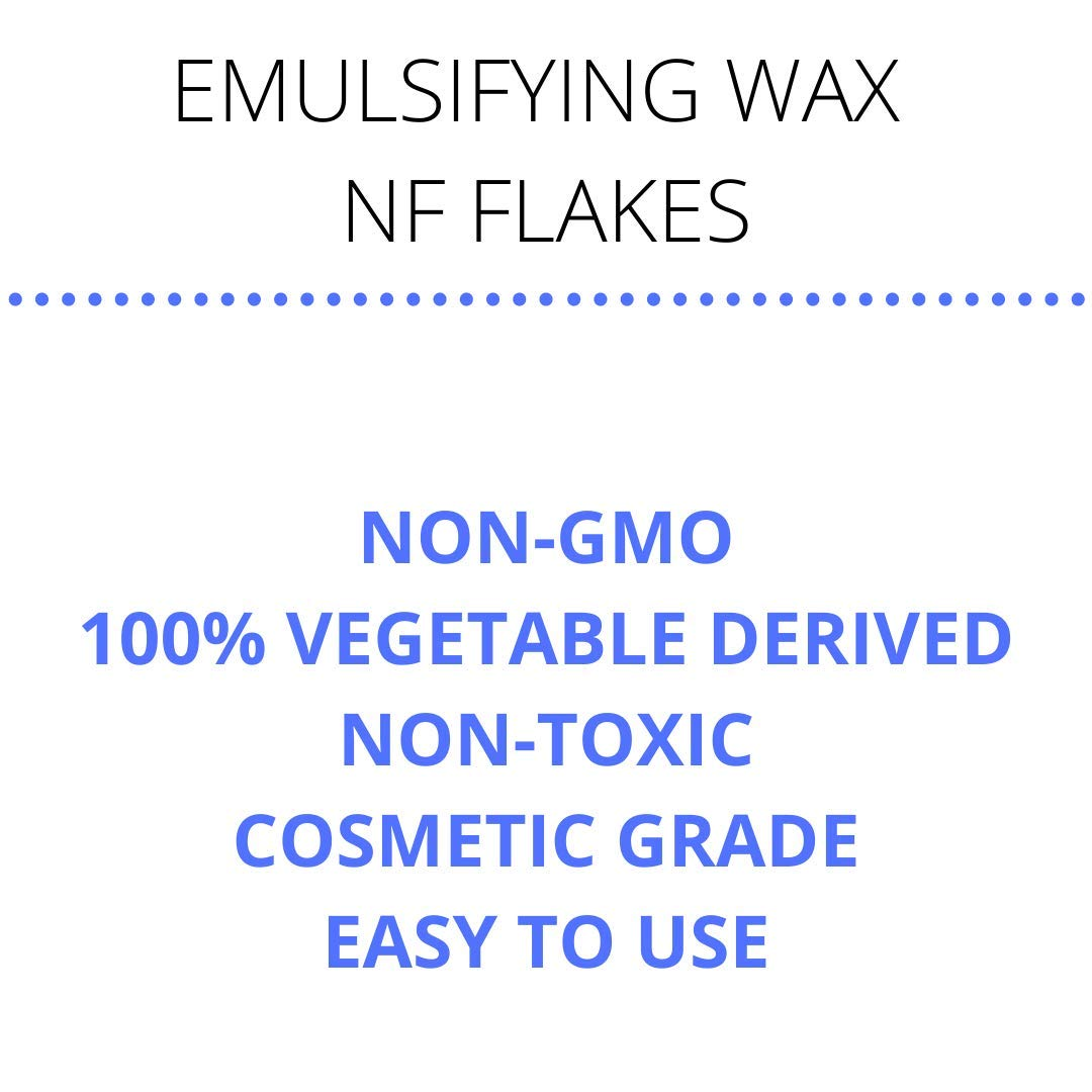Smart Solutions Non-GMO Emulsifying Wax NF Flakes   100% Vegetable Derived Non-Toxic Easy to Use (8 oz)   Cosmetic Grade, Resealable Bag