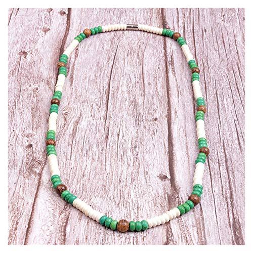 Única de Bolas de Piedra Madera Surfer Collar Hecho de, White, Granos Verdes for los Hombres joyería Tribal (Color : Style 2)