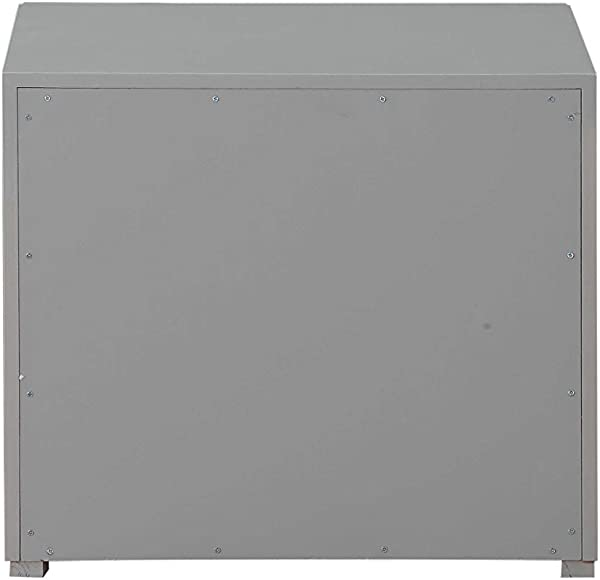 HomeRoots Furniture Nightstand In Light Grey And Dark Grey MDF Poplar Plywood 319117