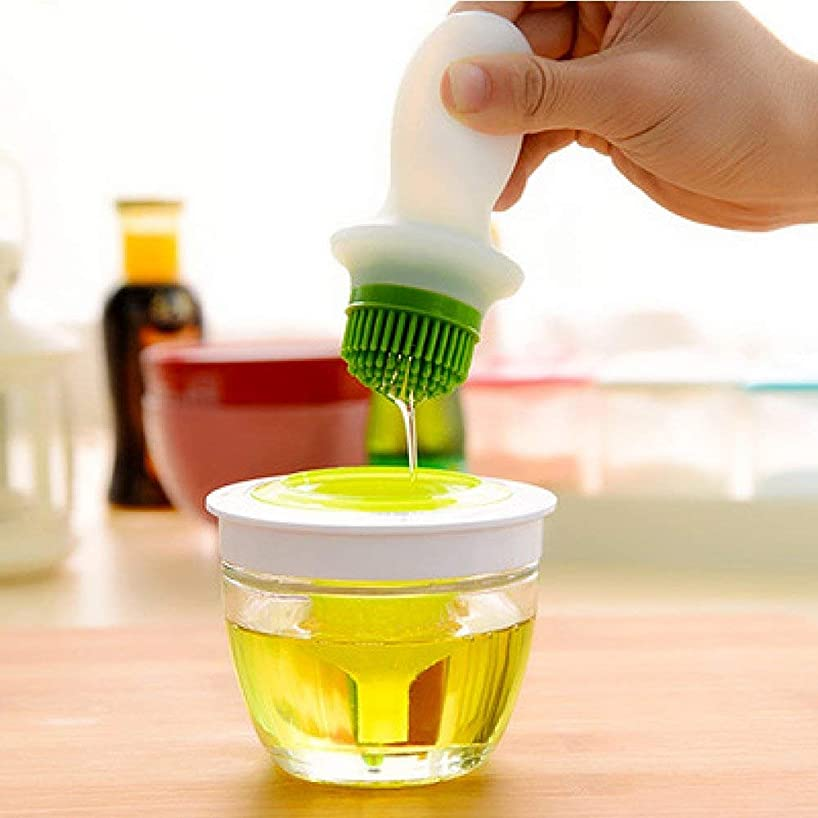 Silicone Turkey Baster and Pastry Brush Set with Thick Glass Docking Bowl Oil Brush Bottle Oil Dispenser for Cooking, BBQ, Baking and Grilling
