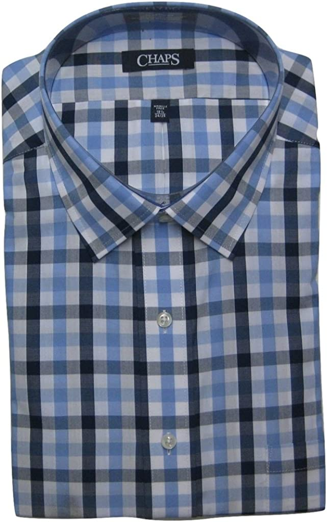 Chaps Classic Fit Mens Dress Shirt Blue Check (18 1/2 Neck 34/35 Sleeves)