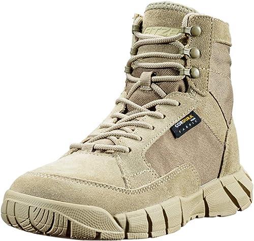 Liabb botas Militares para hombres botas de Combate Desert Army Armados zapatos tácticos Selva Práctico Calzado Patrulla Cordones zapatos de Cuero,SandColor,43