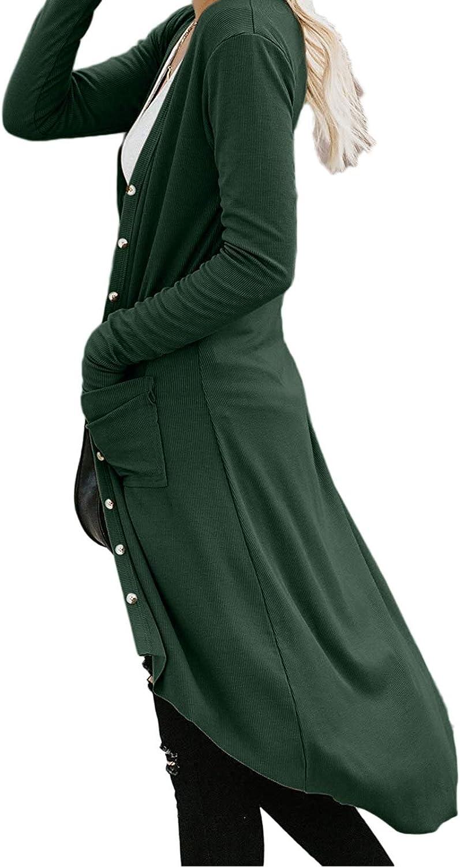Woweal Herbst Cardigan Damen Lange Leichte Strickjacke Übergroß Lose Mantel Langarmshirt Gestreifter Strick Tasche Jacke Asymmetrisch Wasserfall Jacke Outwear Grün