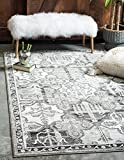 Unique Loom La Jolla Collection Tone-on-Tone Traditional Gray Area Rug (9' 0 x 12' 0)