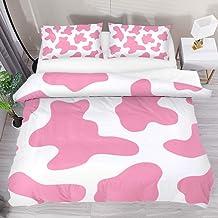 مجموعة غطاء لحاف سرير وردي مطبوع عليه جلد البقر من AISSO طقم لحاف كامل ذو وجهين من القطن 1 غطاء لحاف بسحاب و2 كيس وسادة