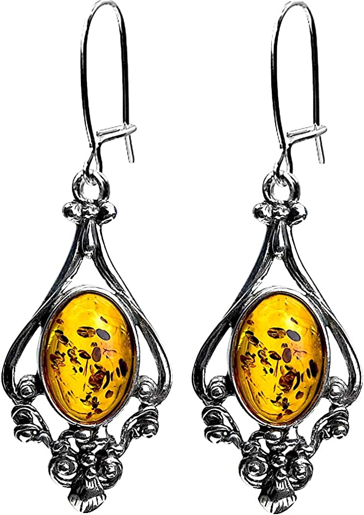 Honey Amber Sterling Silver Dangling Large Filigree Earrings