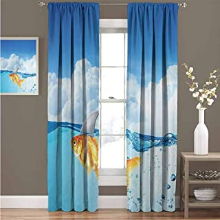 EDZEL Thermal Insulated Tie Up Curtain, Sliding Curtain, Sea Animal Decor, Cute Goldfish with Shark Fin on Top of The Water Fake Comic Nature Image, 84