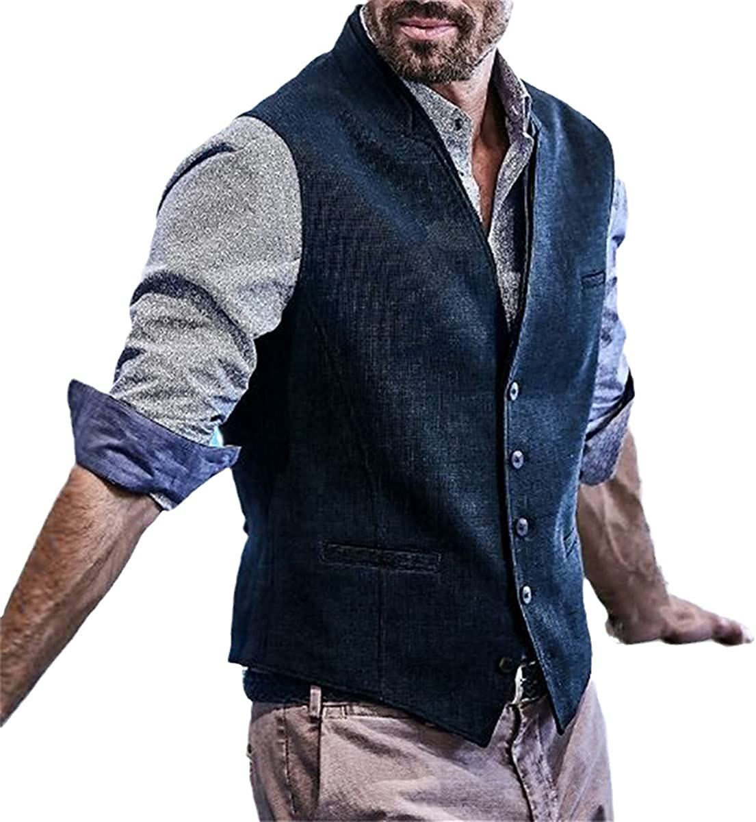 Men's Slim Herringbone Tweed Suit Vest Wool Blend Vest Fashion Single-breasted Notch Lapel Vest Jacket