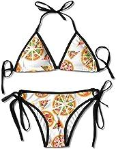 Bikini sin patrón de Pizza Traje de baño de Verano para Mujer Triángulo Top Bikinis Traje de baño Conjunto de 2 Piezas