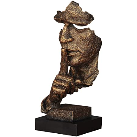 Silence is Gold Keep Silence Statues and Figurines Desk Decoration for Office Home Decor YINASI Abstract and Simple Sculptures The Thinker Statue