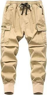 TLAENSON Boy's Stretch Twill Drawstring Cargo Joggers Pants