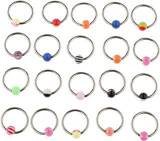 Baosity 20 Pieces Seamless Hinged Segment Clicker Ring Hoop Ear Lip Nose Septum Piercing