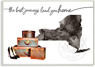 Stupell Industries New York State The Best Journeys Lead You Home Fashion Shoes and Luggage Illustration Oversized Wall Pl...