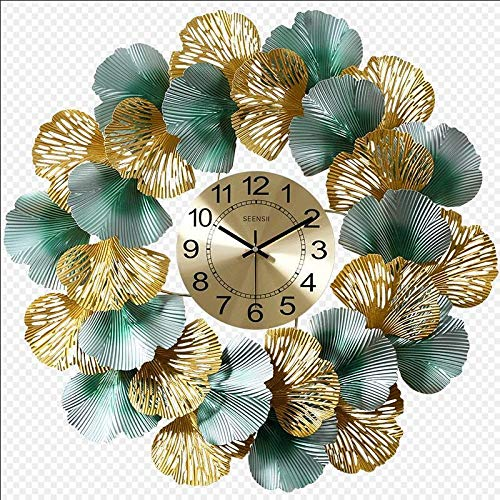 SMEJS Nuevo Chino Hierro Forjado Hoja del Ginkgo de la Pared Decorativos Reloj de Pared Que cuelga Crafts Inicio Salón del Club de Pared Decoración