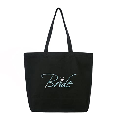 ElegantPark Bride Heavy Tote Bag Bridal Wedding Favor Gift Canvas 100% Cotton  Black with Aqua 572819f399