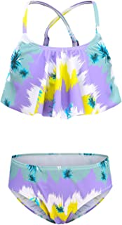 Girls Two Piece Swimsuits Bikini Set Rainbow Strips Swimwear Summer Beach Bathing Suit