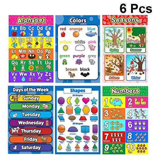 NUOBESTY Lehren Zahlen Alphabet Poster 6Pcs 28X40cm Pädagogische Poster Hängen Bilder Poster Doppelseitige Englische Bilder Cartoon Lernplakat für Kinder Baby Kinder